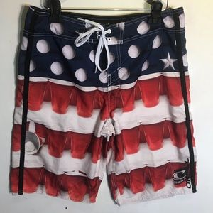 O'Neill Mens Sz 32 Board Shorts Red cup white blue